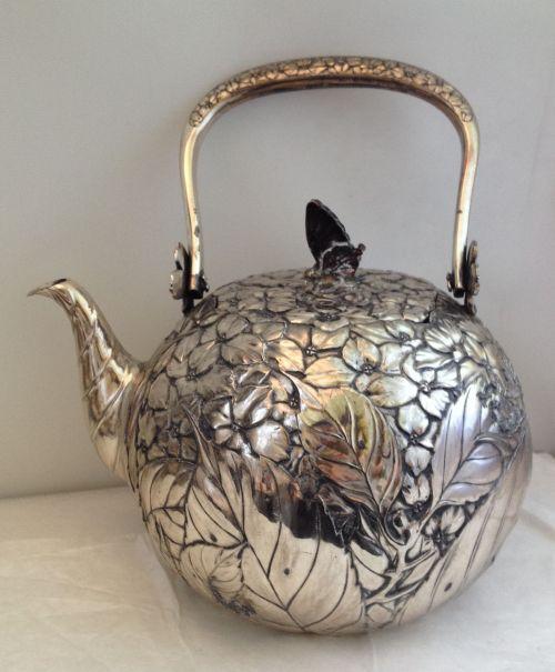 Signed Japanese Silver Teapot Floral Foliate Design Copper